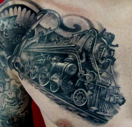 train tattoo always think about getting one never sure