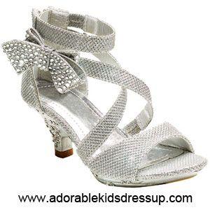Girls High Heel Sandals | Kids High Heels | Silver Dress Heels