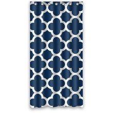 36 Вт * 72 h дюймовый Темно-Синий Темно-Марокканской Плитка Quatrefoil Шаблон Дизайна Ванной Водонепроницаемый Полиэстер Ткань Занавески Для Душа(China (Mainland))