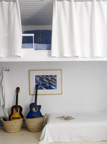 Cozy Nooks... Like the curtain idea in front of the loft