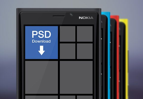 Here is a vector shaped Nokia Lumia 920 mockup. The Windows Phone mockup comes in four colours: black, blue, red and yellow. Free PSD by War...