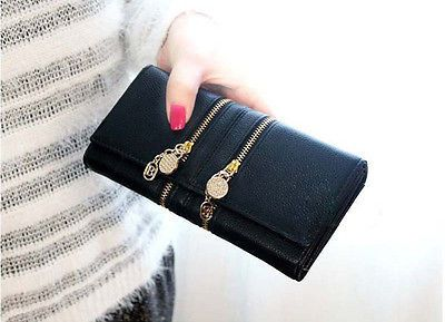 Stylsih NEW Lady Womens Double Zipper Purse Clutch Faux Leather Wallet Gift Bag $8.39 (free shipping)
