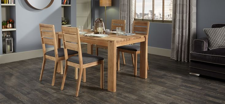 Camden dining table    With a natural oak coloured finish the Camden dining table will add a timeless look to your home, adapting to whatever colour scheme you choose. We suggest painting your walls with Dulux's 2017 colour of the year Denim Drift due to its versatile and neutral palette that allows different textures and materials to take centre stage.