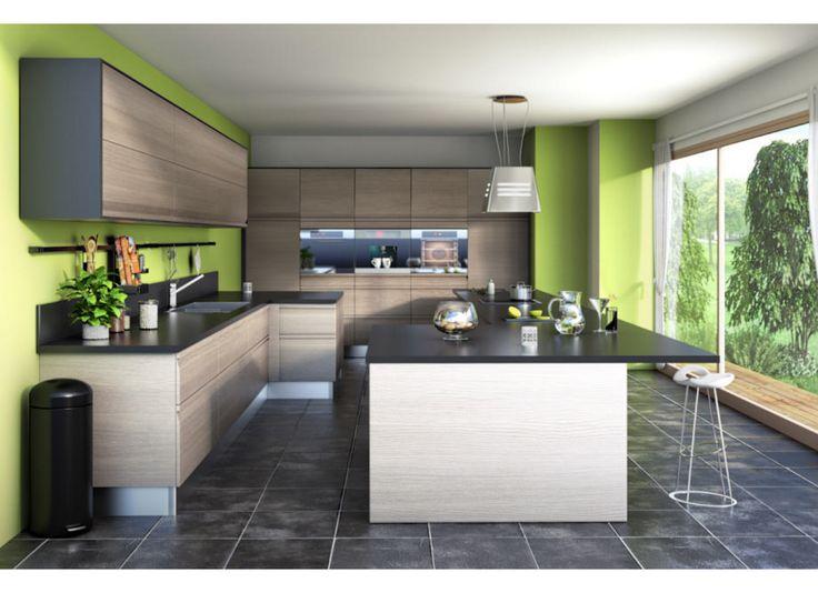 Cuisine URBAN - Cuisine Lapeyre couleur intéressante des meubles (sans vert des murs !)