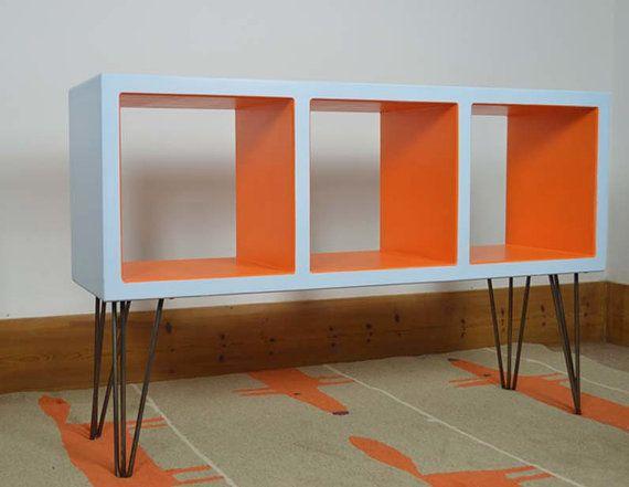 Retro Vinyl Storage, Hairpin Furniture, Mid Century Modern Shelves, Colourful Media Console, Orange Blue Side Table, LP Storage