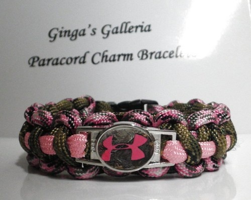 Under Armour Pink & Multi-Camo Paracord Charm Bracelet | gingasgalleria - Jewelry on ArtFire