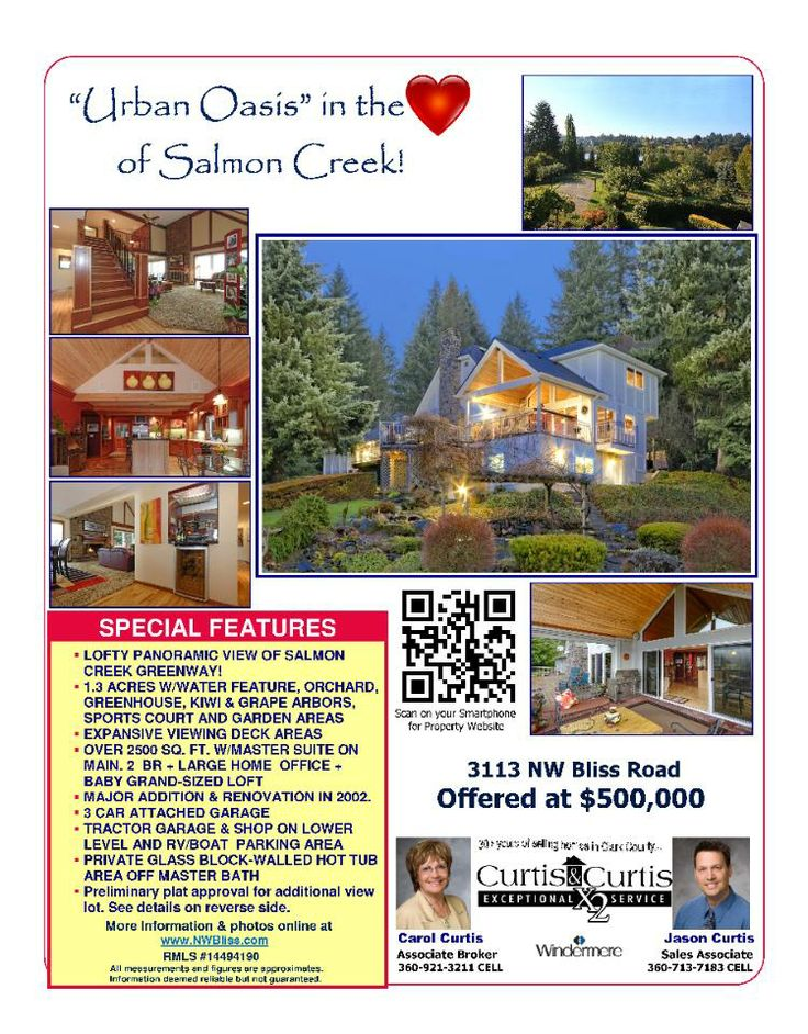 Real Estate For Sale: Back On Market! $500,000-2 Bedroom, 2.5 Bath, 2504 SF 2 Story Salmon Creek View Home on 1.33 Acres with a Greenhouse, Sports Court, Garden & Orchard in Vancouver, WA! Thanks for sharing Carol Curtis, Windermere Stellar Group, Vancouver, WA!   #RealEstate #ForSaleRealEstate #RealEstateForSale #VancouverRealEstate #TwoStory #TwoStoryRealEstate #CustomHome #SalmonCreekRealEstate #RealEstateSalmonCreek #SalmonCreek #Acreage #ViewHome #Greenhouse #Garden #Orchard…