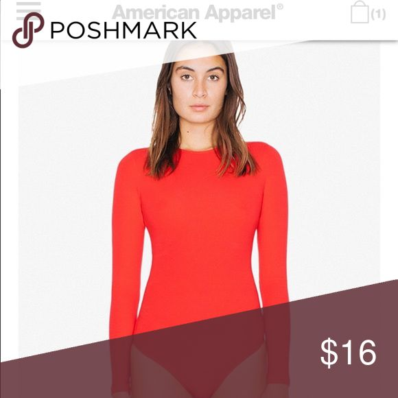 American Apparel classic Spandex bodysuit SMALL Red long sleeve bodysuit American Apparel Tops Tees - Long Sleeve