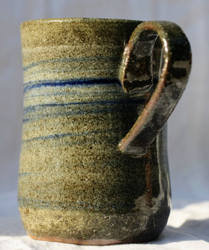 Pottery Mug, Stoneware clay,hi fired, cobalt blue and white slip decorated , Microwave and Dishwasher-safe, Wheel-thrown by FireonClay on Etsy