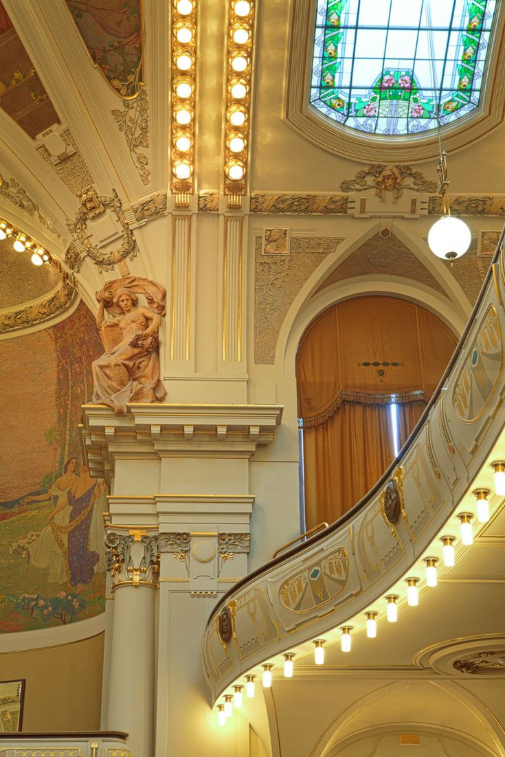 Municipal House in Prague Czech Republic - A stunning Art Nouveau building with natural ornaments and precisely elaborated everyday items. Click here to read more about the Municipal House in Prague!