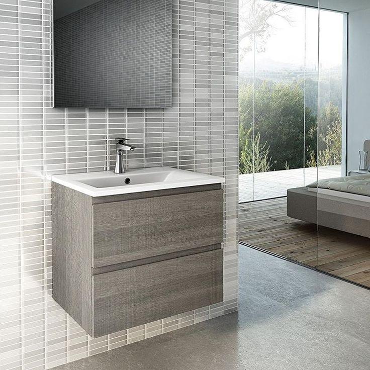 Modena Design 60 er et lekkert lite baderomsmøbel i trestruktur#modenafliser