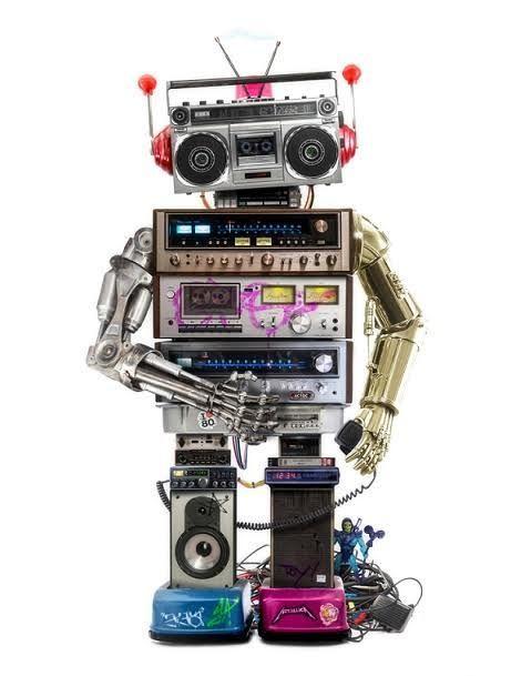 Skeletor's Revenge By JJ Adams #art #artist #JJAdams #robot #metalmickey #skeletor #heman #shera #greyskull #castle #transistor #radio #boombox #vhs #video #tape #cassette #player #recorder #80s #retro #vintage #speakers #C3PO #Terminator #robotic #arms