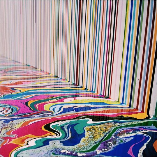 Ian Davenport - Translation of space, from wall to floor.