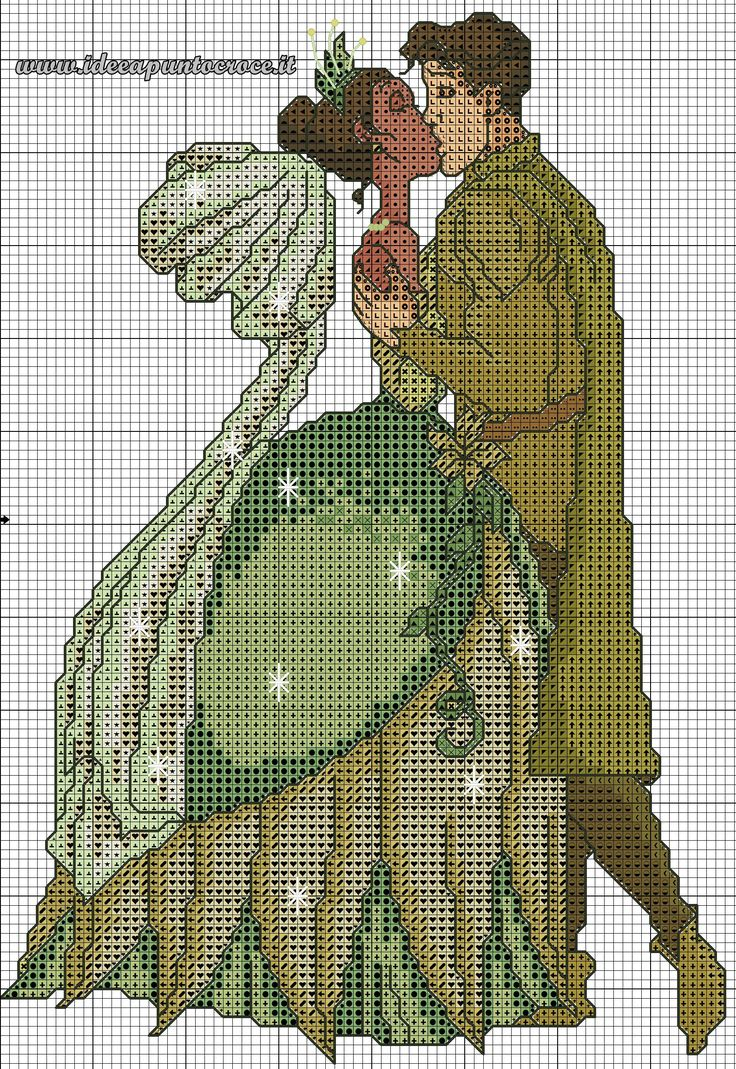 schema punto croce Tiana e il principe