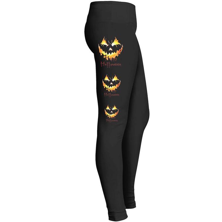 Halloween Leggings 3 Jack o' Lanterns, spooky, demonic smile
