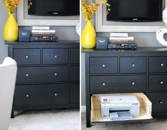Keep your printer in a secret drawer. | 42 Storage Ideas That Will Organize Your Entire House
