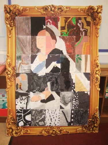 Mosaic Art Project with Queen Victoria as subject - Students each complete a part of a portrait and reconstruct it to show the original image.
