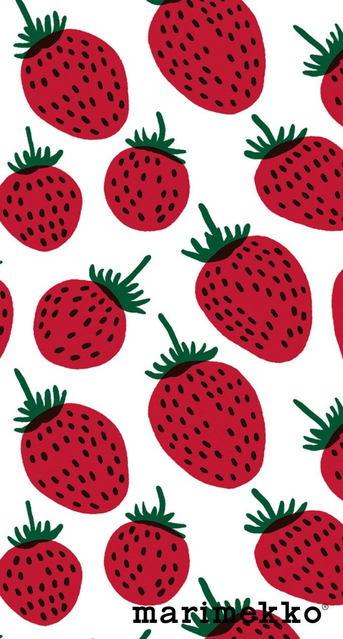 マリメッコ/いちご2 iPhone壁紙 Wallpaper Backgrounds iPhone6/6S and Plus  Marimekko iPhone Wallpaper