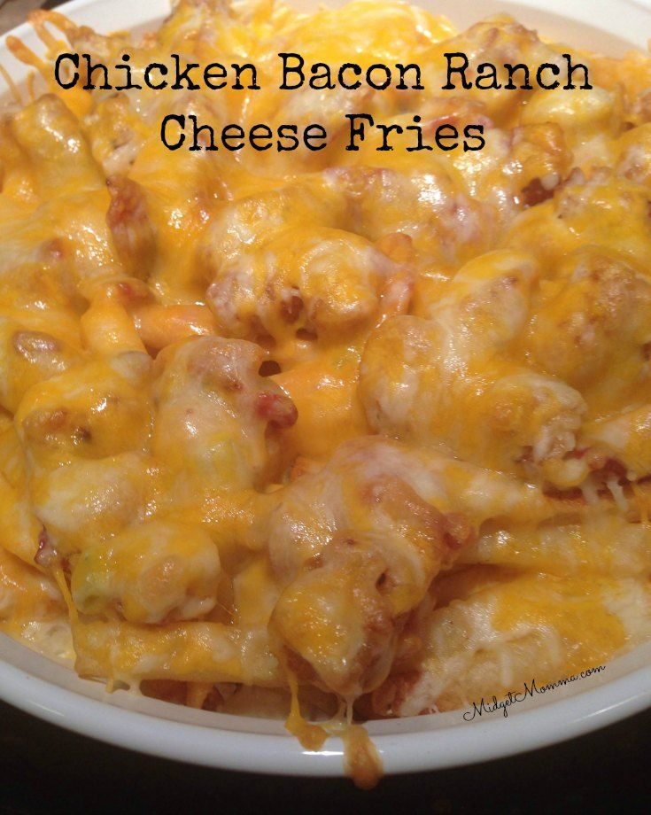 Chicken Bacon Ranch Cheesy Fries made with bacon, chicken nuggets, ranch dressing, and lots and lots of cheese! Oh yum!