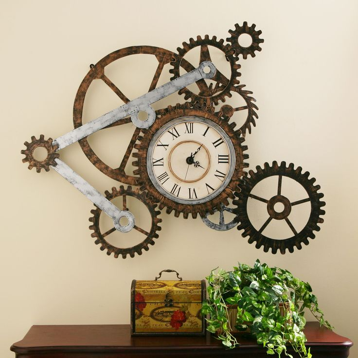 Turn the gears of artistic expression in your home or office with this unique decorative gear wall art. Made from durable hand-painted metal, the gears of this piece create a rugged, industrial motif perfect for a living room, office, or loft space.