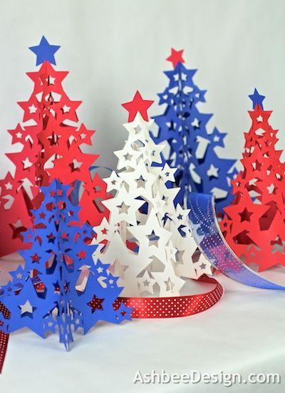 Diy sapin de Noël avec des étoiles, support imprimable gratuit, Ashbee Design Silhouette Projects: Four-Panel Tree Silhouette Tutorial #Noel #Christmas