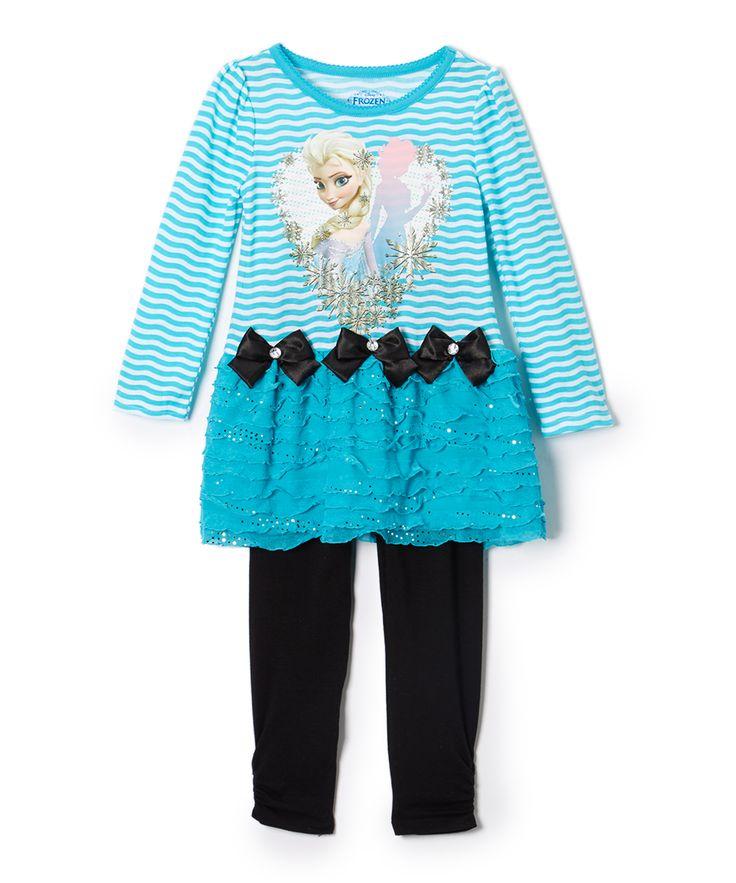 Frozen Blue & Black Elsa Dress & Pants - Girls