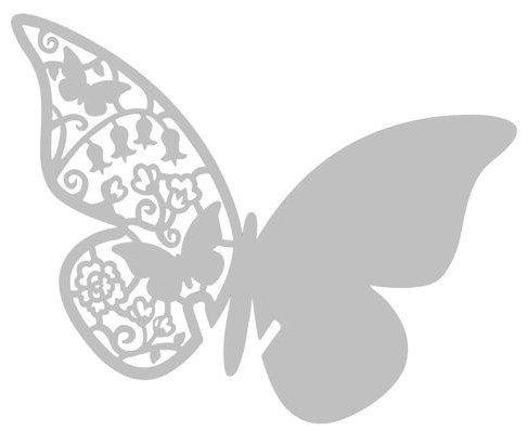 Bordkort sommerfugl sølv 10stk - Bordpynt - MAGGIES.