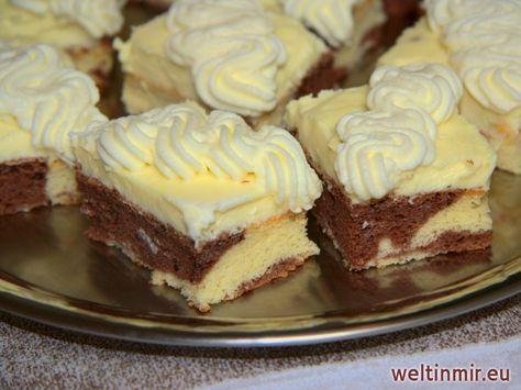 Superlecker Kuchen mit Vanillecreme, Sahne und Mascarpone.