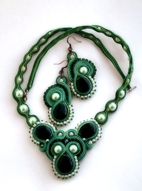 emerald sea soutache set necklace & earrings by KimimilaArt