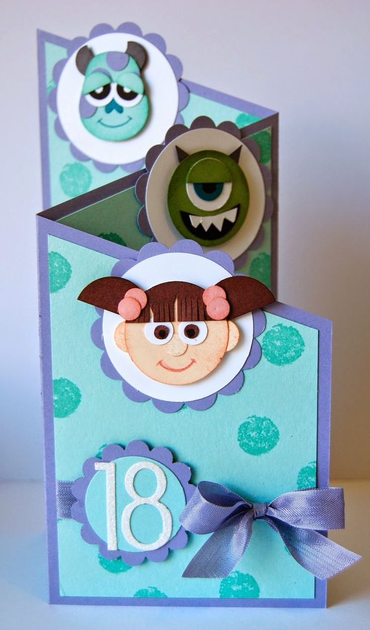 Monsters Inc Punch Art #card by Julie Kettlewell