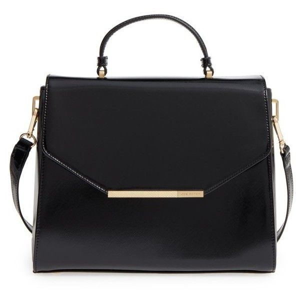 Women's Ted Baker London Large Faux Leather Satchel (2.779.075 IDR) ❤ liked on Polyvore featuring bags, handbags, black patent, ted baker purse, structured handbags, vegan handbags, ted baker handbags and faux leather handbags
