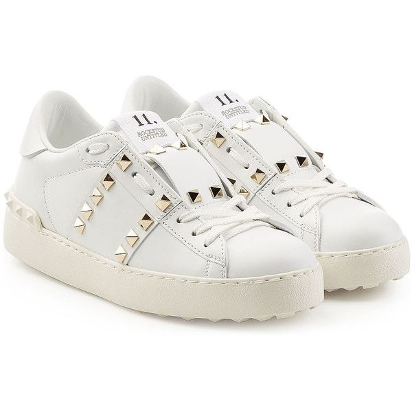 Valentino Leather Untitled Rockstud Sneakers ($485) ❤ liked on Polyvore featuring shoes, sneakers, white, lace up sneakers, white leather shoes, white sneakers, leather shoes and white trainers