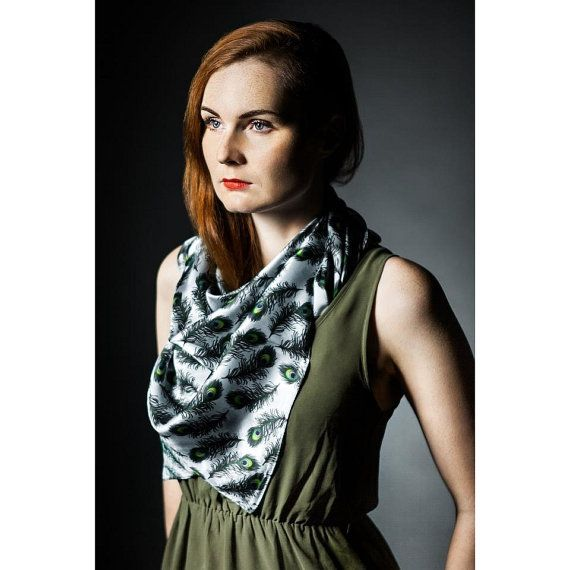 Peacock feathers on silver gray square silk satin scarf  Women