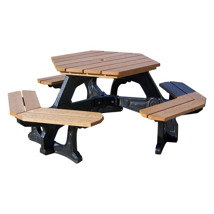 Outdoor Polly Products Econo-Mizer Plaza Hexagon Recycled Plastic Picnic Table - ASM-EPZ-00-BLACK FRAME-BLACK TOP