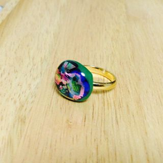 """Handcut fused glass ring  Glass size:  17mmX15mm  Ring type: adjustable ring Ring color:  gold  Handcut fused glass ring  Glass size: 20mmX19mm  Ring type: adjustable ring Ring color: gold  Designed by """"Bittnada"""""""