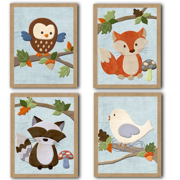 Forest Friends Owl Fox Racoon Bedding Kids Nursery Art Auctions - Buy And Sell - FindTarget Auctions