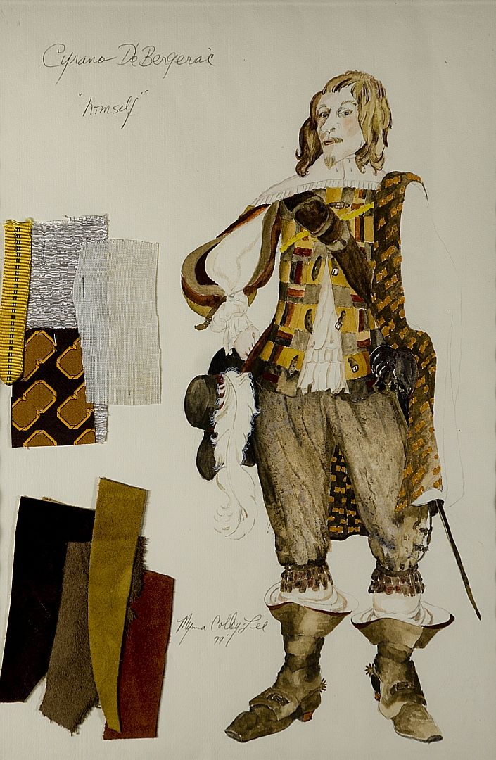 I was questioning the attire that would pertain to the time period of Cyrano de Bergerac (1600) here's a design of costume to give you a glimpse.