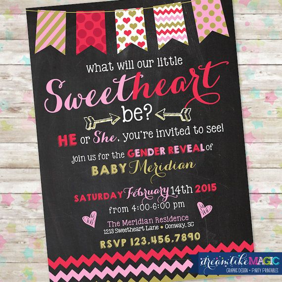 Valentine Gender Reveal Invite February Baby by DreamlikeMagic