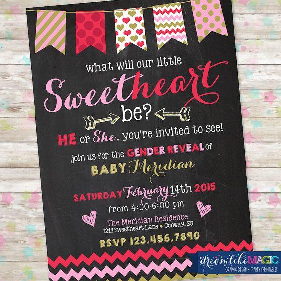 Valentine Gender Reveal Invite February Baby by DreamlikeMagic