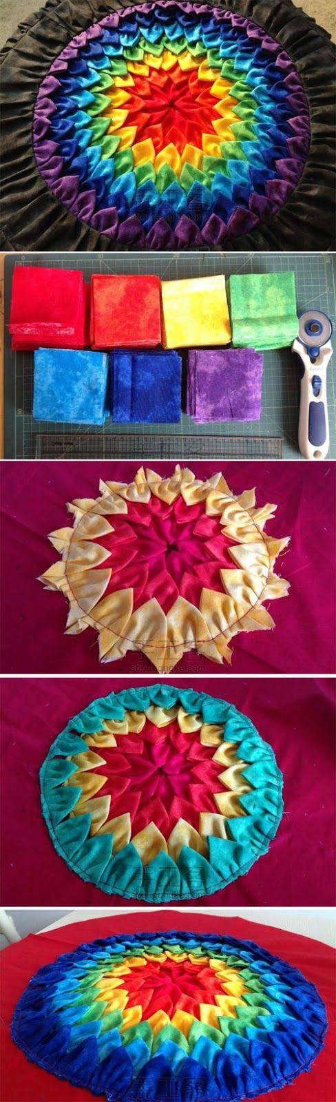 Patchwork cushion rainbow DIY Tutorial  http://www.handmadiya.com/2015/07/patchwork-cushion-rainbow-diy.html