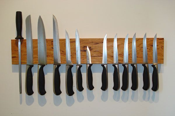 DIY Magnetic Wooden Knife Holder -  Cool & easy wood project for your Kitchen!  24 inches,  you can use scrap lumber.