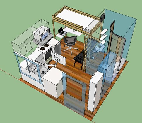 Everything fits into 126 square feet of living space. Tiniest of tiny homes. Awesome layout.
