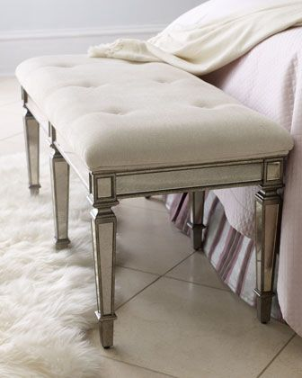 """""""Denison"""" Mirrored Bench at Neiman Marcus.: Interior, Bedrooms, Master Bedroom, House, Mirrored Bench, Furniture, Denison Mirrored, Bedroom Benches, Bedroom Ideas"""