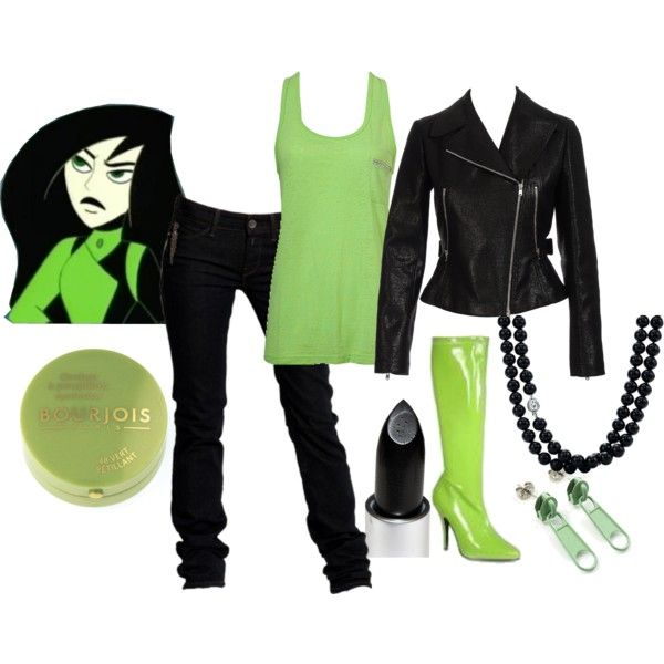 Shego (Kim Possible) by geekstylist on Polyvore featuring Forever 21, Alaïa, Replay, Tiffany & Co., Avalaya, MAC Cosmetics, Bourjois, shego, leather jacket and kim possible