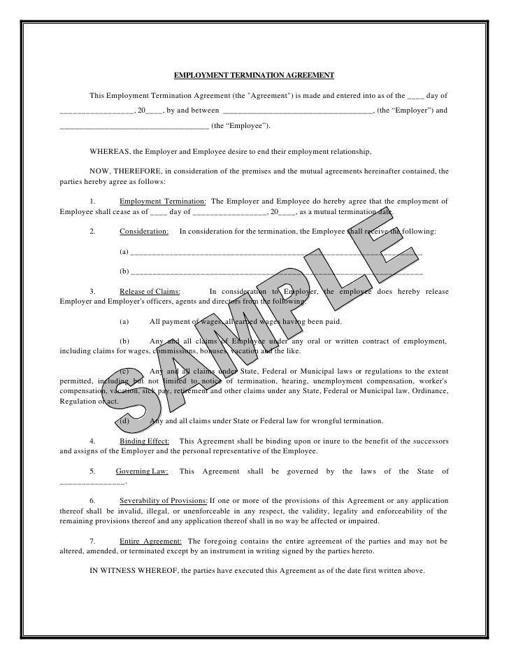 termination agreement form mutual letter and employment