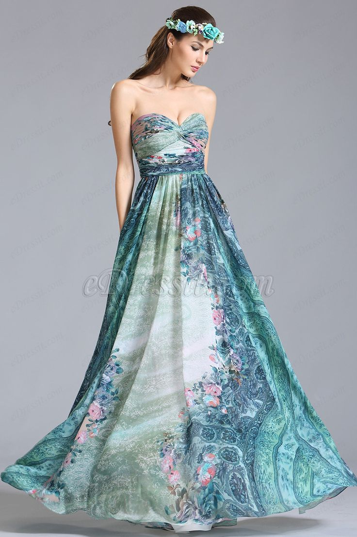 eDressit Strapless Sweetheart Printed Dress Floral Dress