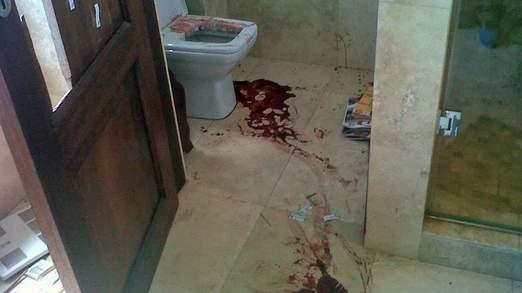 Man Superman Gunman | The bloody crime scene where Oscar Pistorius allegedly shot and killed Reeva Steenkamp on Valentine's Day 2013. Photo http://news.sky.com/