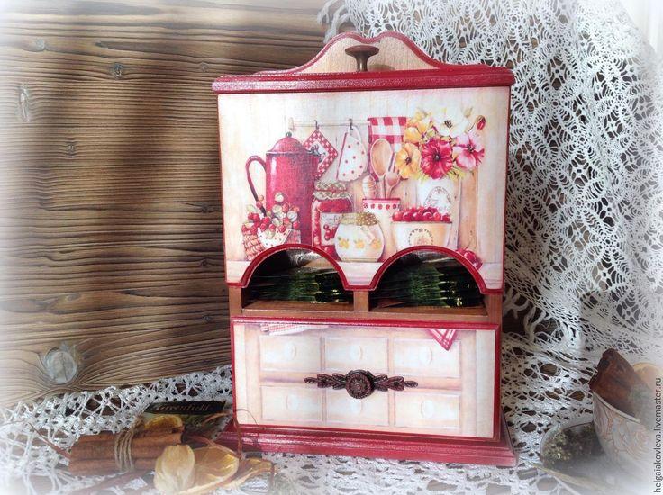 Купить Чайный буфет (домик) - комбинированный, буфет, подарок на 8 марта, для кухни, для чаепития