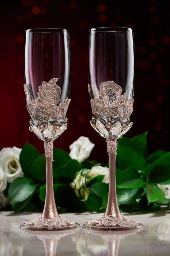 Personalized Wedding glasses and Cake Server Set cake cutter boho wedding toasting flutes rustic wedding flutes and cake rustic