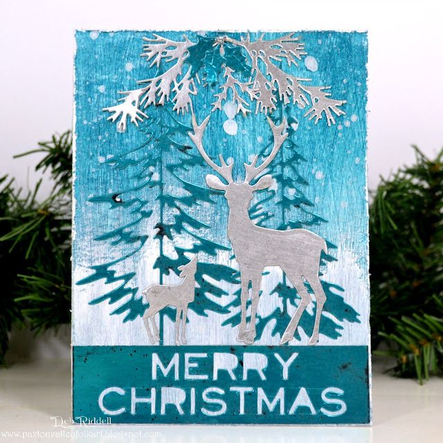 Blue And Silver Christmas Card Christmas Cards Handmade Deer Christmas Cards Christmas Card Design